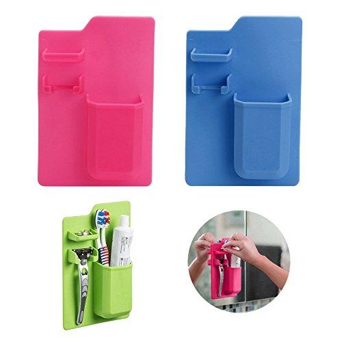 CPMA Zahnbürsten und Rasierer-Halterung • Duschkorb/Duschablage • Grün, Pink, Blau • Statisch haftend, Ohne Kleber • Dusche, Spiegel Badezimmer • -Grün-