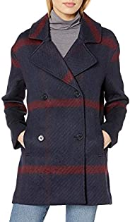 Tommy Hilfiger Women's Double Breasted Oversized Plaid Wool