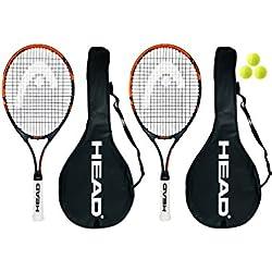 Head Ti. Radical - Juego de raquetas de tenis (2 unidades, 69 cm, 3 pelotas de tenis Head incluidas)