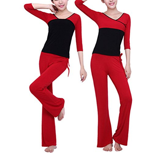 Zhhlaixing Unique Design Athletic Yoga Set Two pieces Womens Fitness Workout Sportwear red