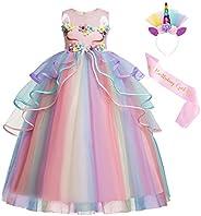 AmzBarley Vestido Princesa de Unicornio Fiesta Niña Tutu Cosply Cumpleaños,Disfraz Tutu Princesa Unicornio Inf