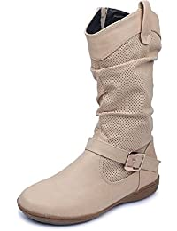 Amour World Womens Fabric Boots (Beige) 41 Euro Size