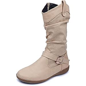 Amour World Womens Fabric Boots (Beige) 37 Euro Size