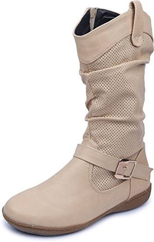 Amour World Womens Fabric Boots (Beige) 40 Euro Size