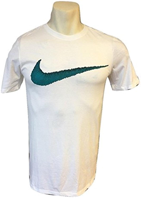 Camiseta Nike Swoosh Camiseta hombre Athletic Cut 891951 (XL, Blanco / Verde azulado)