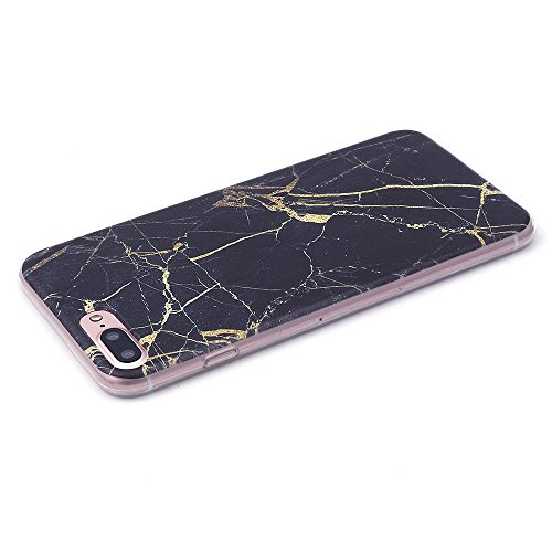 iProtect TPU Schutzhülle Apple iPhone 7 Plus, iPhone 8 Plus Softcase Hülle Marmor Edition in schwarz gold marmoriert Marmoriert schwarz gold