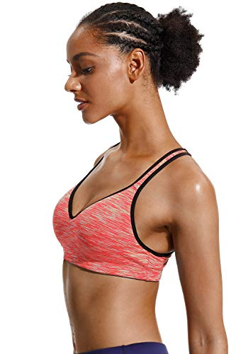 V FOR CITY Damen Crisscross Back Sport BH Abnehmbare gepolsterte Workout Top Light Support Yoga BH, Damen, Orange, X-Large - 4
