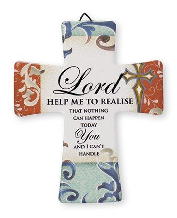 Porzellan Kreuz/Herr mir helfen realisieren.... 51/5,1cm X 43/10,2cm–Aufhänger und Aufsteller