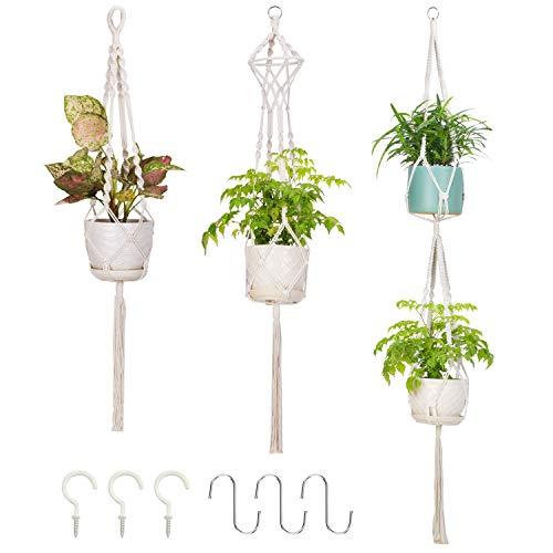 VITCOCO Makramee Blumenampel Baumwollseil Hängeampel, 3 stück Pflanzenhalter Blumentopf Pflanzen Halter Aufhänger für Innen Außen Decken Balkone Wanddekoration