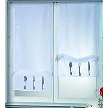 HomeMaison - Estor enrollable (50 x 130 cm, poliéster, bordado en la parte inferior), diseño de cubiertos de cocina