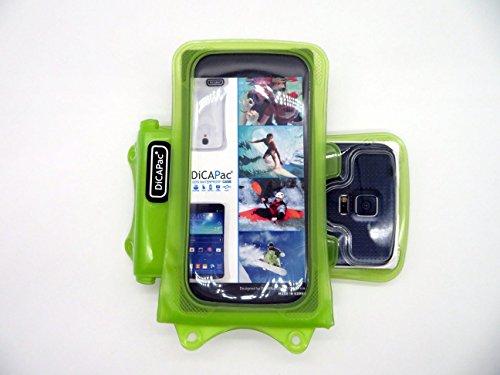 DicaPac WP-C1 Universelle Wasserdichte Hülle für Gionee Elife E3 / E5 / E6 / E7 Mini / S5.1 / S5.5 Smartphones in Grün (Doppel-Klettverschluss, IPX8-Zertifizierung wasserdicht bis 10 m Tiefe)