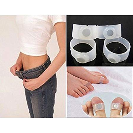 Acupressure India 1 Pairs Slimming Silicone Foot Massage Magnetic Toe Ring Fat Weight Loss