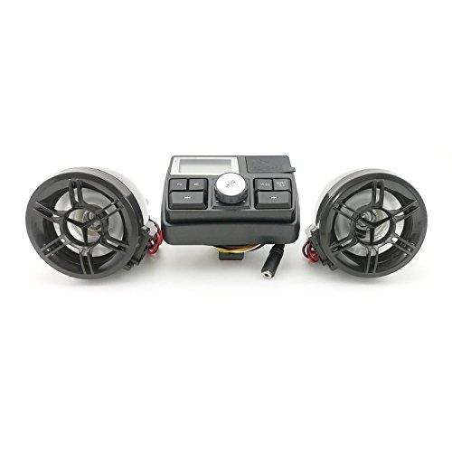 Anzene Motorrad Lenker Lautsprecher Radio System & MP3-Player U-Disk & SD-Karte Lesefähigkeit Fernbedienung Diebstahlschutz Polizei Wachalarm (B)