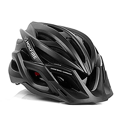 MOKFIRE Adults Bike Helmet CPSC & CE.EN1078 Certified with Safety Light/Removable Visor/Replacement Liner Adjustable Size: 22.44-24.41 Inches for Adult Men/Women from MOKFIRE