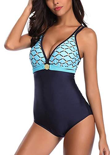 Leslady Damen Badeanzug mit Tiefem V-Ausschnitt Figurformender Große Größe Einteiliger Schwimmanzug für Bauchweg, Blau, EU 40-42 (L) - Badeanzüge Damen Für