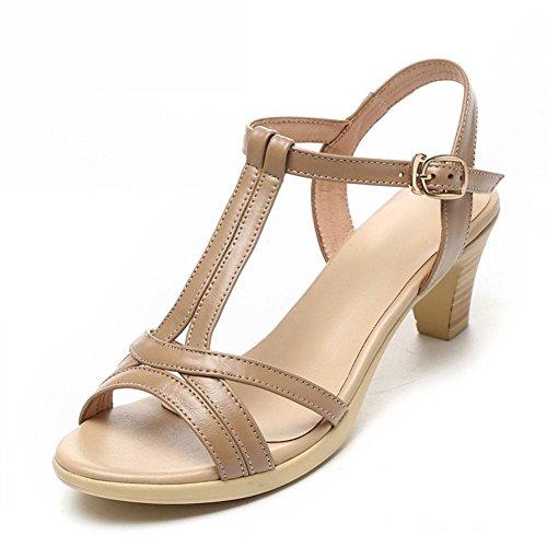L@YC Sandales Femme En éTé avec Une Jupe Souple En Cuir éPais En Cuir Confortable Grande Taille 2017 Chaussures Pour Femmes brown