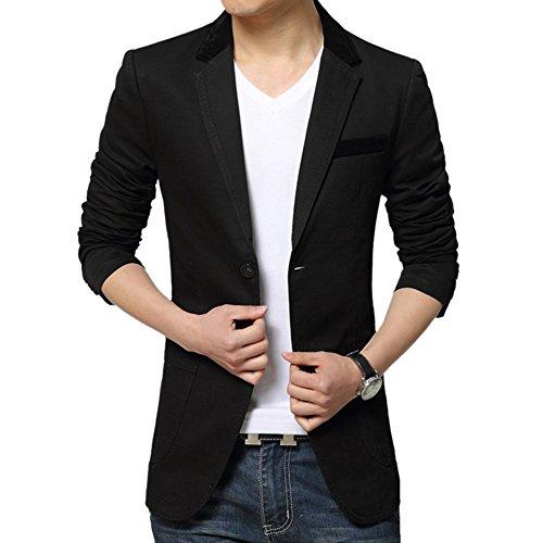 MNBS Hommes Slim Fit Casual Deux Boutons Coton Costume Manteau Jacket Blazers Noir