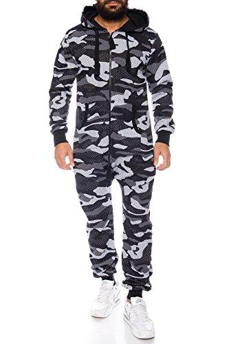 Herren Jumpsuit Overall Strampeler Latzhose Ganzkörperanzug Sweat Camouflage Design. Warm, Weich, Sportlich Schwarz/Weiß