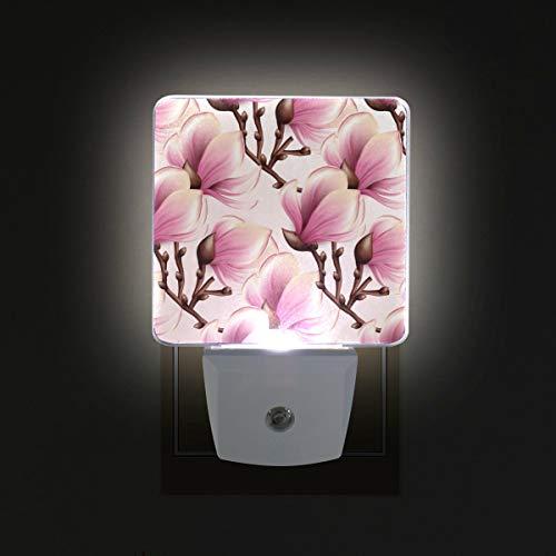 DFISKK Nachtlicht Watercolor Magnolia Flower 2 Pack 0.5W Plug-in LED Night Light Lamp with Dusk to Dawn Sensor, Night Home Decor Bed Lamp -