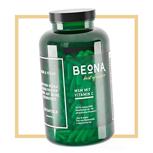 BEONA MSM - Verstärkt mit natürlichem Vitamin C - 365 vegane Kapseln - Hochdosiert - 1450mg Methylsulphonylmethan (MSM) - Ohne Zusätze wie Magnesiumstearat - Laborgeprüft - Deutsches Qualitätsprodukt