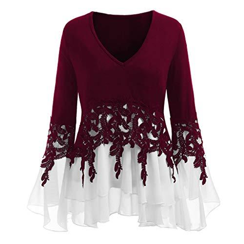 SANFASHION Tops Damen Mode Frauen Pullover Casual Applique Flowy Chiffon V-Ausschnitt Langarm Bluse