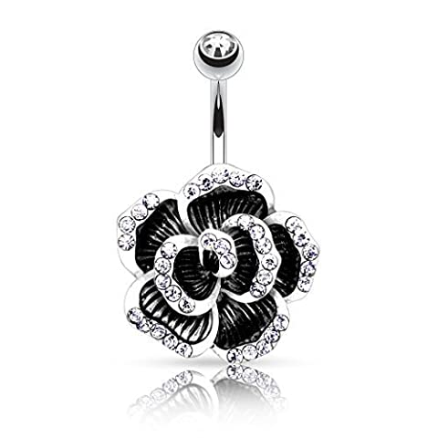 Paula & Fritz 316L Stainless Steel Rose Petals Black And Silver With Cubic Zirconia Clear Crystal Navel Belly Button