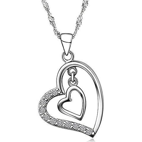 925 della collana del pendente doppio cuore Sterling Silver Crystal per le donne, 18 pollici catena in argento 925
