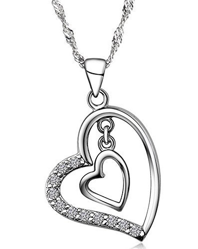 """Collar de plata esterlina Wonvin """"corazón"""" por sólo 4,90€ con el #código: 4PXKWJK5"""