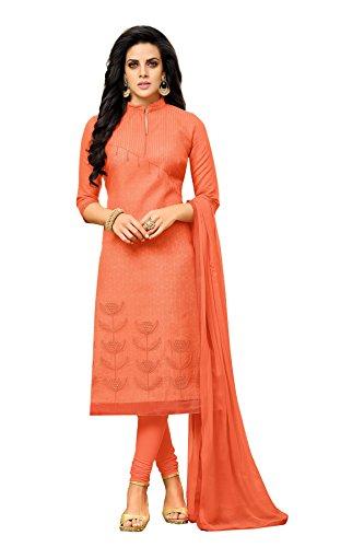 Oomph! Women's Unstitched Chanderi Salwar Suit Dupatta Material - Fire Orange