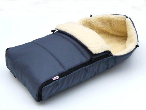 Preisvergleich Produktbild BABYLUX Fußsack LAMMWOLLE 90cm Winterfußsack Kinderwagen- Babyschale- Fußsack (Graphit)