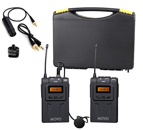 Movo WMIC70 Sistema de micrófono de Solapa inalámbrico UHF de 48 Canales con Omni-Lav, Montaje de cámara y Salidas 3,5mm/XLR (Rango de 100m)