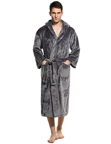 Unibelle Herren Bademantel Lang Saunamantel Morgenmantel Nachtwäsche Robe Mit Kapuze 1-Dunkelgrau