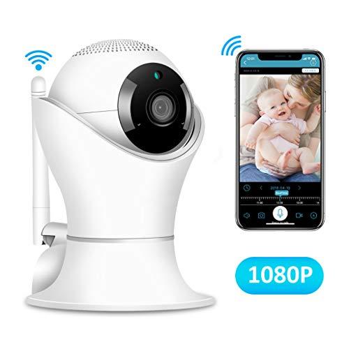 LLCOFFGA Sorveglianza di Sicurezza Domestica Telecamera HD 1080P Rilevato Movimento Audio Bidirezionale Allarme A Infrarossi Visore Notturno Pan/Tilt/Zoom Monitor Omnidirezionale per Baby Pet Elder