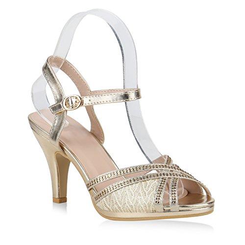 Stiefelparadies Damen Sandaletten Riemchensandaletten Party High Heels Strass 154403 Gold Amares 40 Flandell