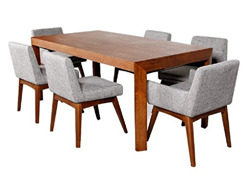 Afydecor Six Seater Dining Set with Rectangular Shaped Table having Upholstered Chairs - Brown