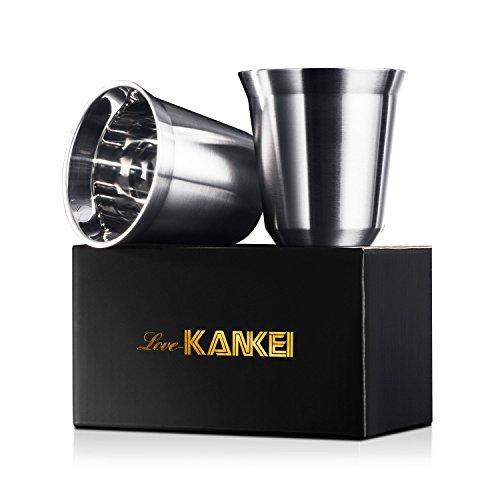 Espressotassen Mokkatassen Love-KANKEI Doppelwandige Kaffeetassen Espressobecher aus Edelstahl,...