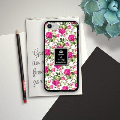 Apple iPhone X Silikon Hülle Case Schutzhülle Queen Sprüche Blumen Muster Hard Case schwarz