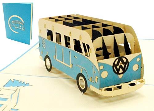 Lin 17574, Pop Up Karte Bus, 3D Grußkarten Auto, Bulli Bus Grußkarte, Geburtstagskarten, Gutschein Urlaub, Bulli Bus blau, N333