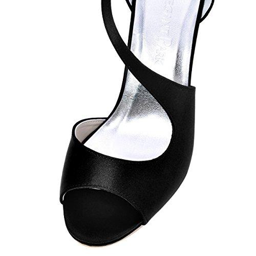 ElegantPark HP1505 Sandali da sposa col tacco a spillo peep toe scarpe da sposa Nero