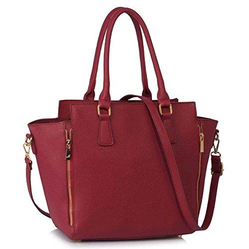Meine Damen Umhängetaschen Frauen Große Designer Handtaschentoteschulterkunstleder Modische Taschen (A - Schwarz) A - Burgund