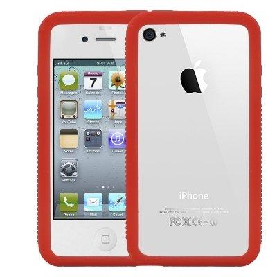Logotrans Burl Series Silikon Tasche für Apple iPhone 4 rot Rot