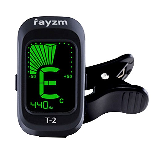 Rayzm Accordeur de guitare, (Syntoniseur)Tuner Clip-on pour Chromatique / Guitare / Basse / Ukulélé / Violon, Nom de Big Note sur l