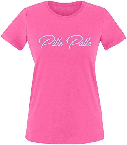 EZYshirt® Pille Palle Damen Rundhals T-Shirt Fuchsia/Hellblau
