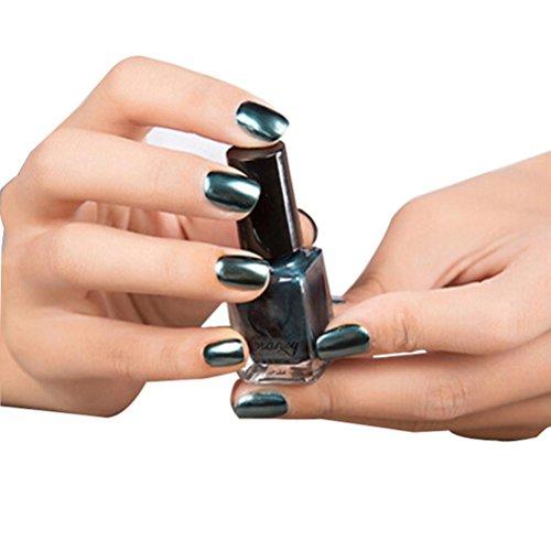 samLIKE Spiegel Nagellack Überzug Silber Paste Metall Farbe Edelstahl Spiegel Silber Nagellack für Nail Art (Dunkelblau) (Helle Farbe Nagellack)