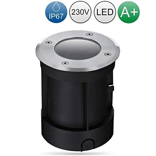 lambado® LED Bodeneinbaustrahler für Aussen IP67 - Wasserdicht & Befahrbar inkl. 5W 230V GU10 Strahler warmweiss - Runder Bodenstrahler/Bodenleuchte aus Edelstahl für Terrasse & Garten