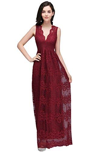 Damen Elegant A-Linie Abiballkleid Chiffon Abschlussballkleid Prom dress lang Wein Rot36
