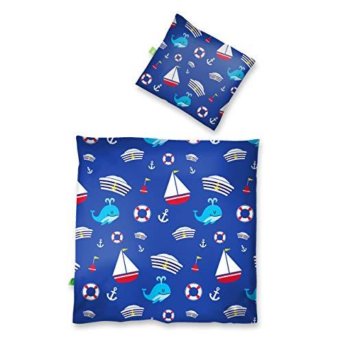 Lumaland Premium Baumwoll Baby- und Kinderbettwäsche mit YKK Reißverschluss 80 x 80 cm mit Kopfkissenbezug 35 x 40 cm Motiv Sailor