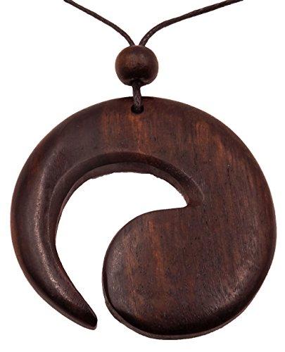 Collar de madera colgante étnica joyas Tribal espiral ajustable Wooden Necklace