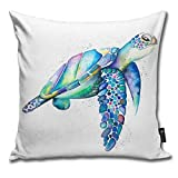 BlueBling Fashion Funny Throw Pillow Covers Rainbow Sea Turtle Printed 18 x 18 Inches Cases Cushion Cover Pillowcases for Home,Indoor,Bed,Gard