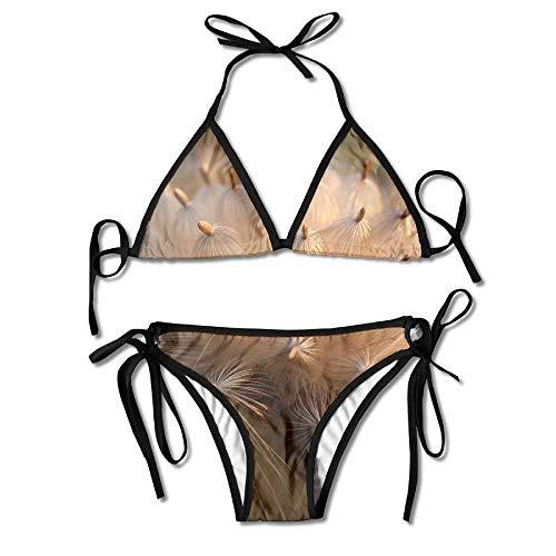 dc59cbce9e7 Pink Flowering Plant Daisy Family Women's Sexy Bikini Set Swimsuit Bathing  Suit Triangle Swimwear